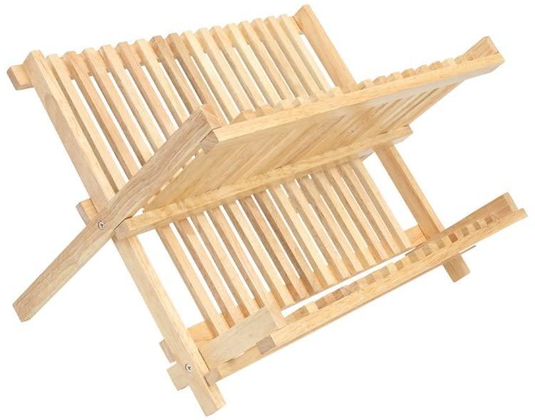Egouttoir à vaisselle en bois d'hévéa pliable 39 x 34 x 25,5 cm