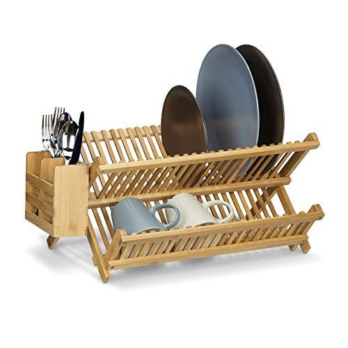 Égouttoir à vaisselle et couverts Relaxdays pliable avec panier à couverts en bois de bambou H x l x P: 24 x 46 x 28 cm