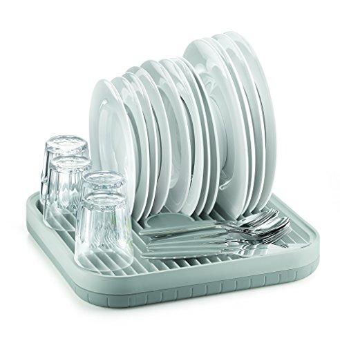 égouttoir plastique noir Flip de Joseph Joseph au design épuré compatible avec un lavage au lave-vaisselle avec gouttière d'écoulement des eaux de vaisselle