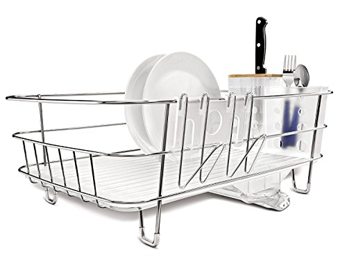 Égouttoir à vaisselle design et compact en inox et acier brossé Simplehuman avec bec d'écoulement