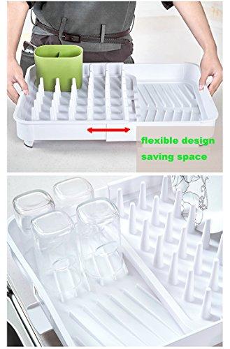 égouttoir à vaisselle en plastique blanc solide,Improvingss, extensible et vraiment bien organisé.