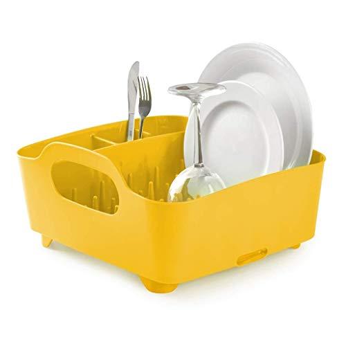 Egouttoir casier pour vaisselle en plastique Umbra jaune avec poignées et système d'évacuation d'eau