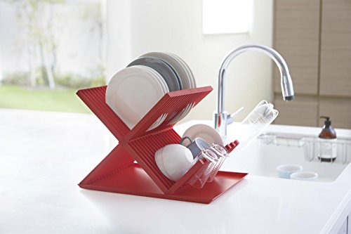 Egouttoir en plastique rouge solide design moderne et épuré