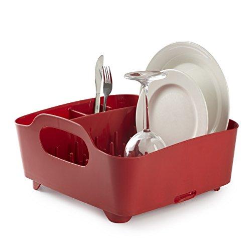 Egouttoir à vaisselle rouge Umbra en plastique durable, avec compartiment couverts et système d'évacuation d'eau