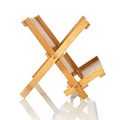 Egouttoir à vaisselle en bambou pliable 41 x 23 x 25 cm
