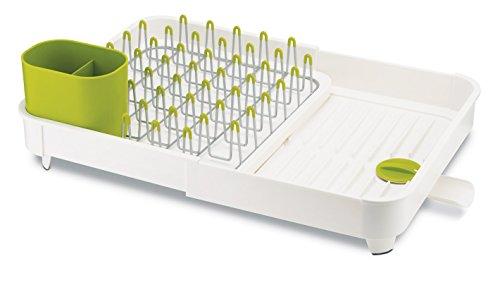 Egouttoir à vaisselle Joseph Joseph en plastique durable blanc et vert anis, avec système d'évacuation des eaux de séchage, belle organisation pour le séchage optimal de votre vaisselle