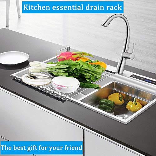 grille séchoir en inox et silicone pliable pour évier de cuisine idéale comme égouttoir pour fruits ou vaisselle