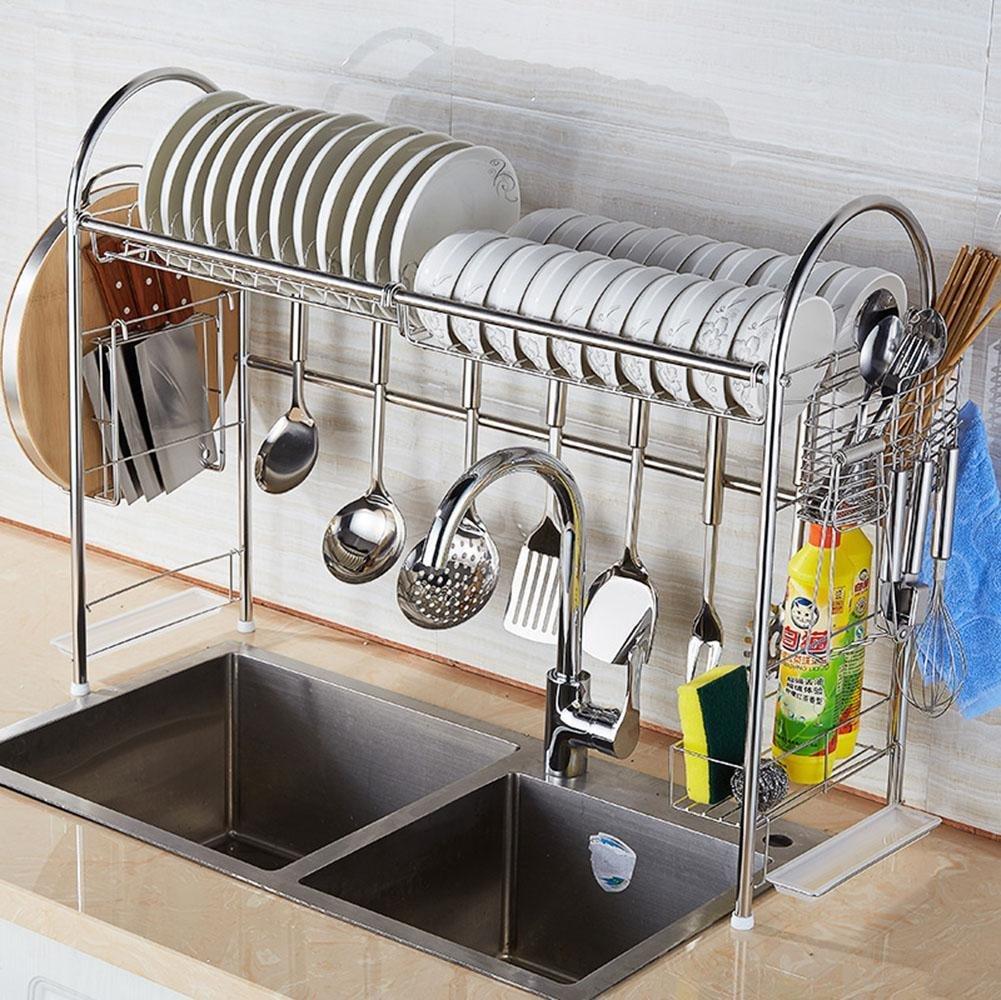 Égouttoir en inox multi-fonction pour ustensiles de cuisine et vaisselle idéalement placé au dessus de l'évier